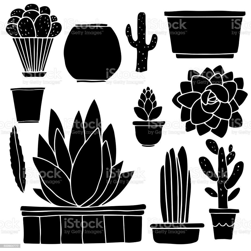 Cacti, houseplants, flowerpots, boxes vector art illustration