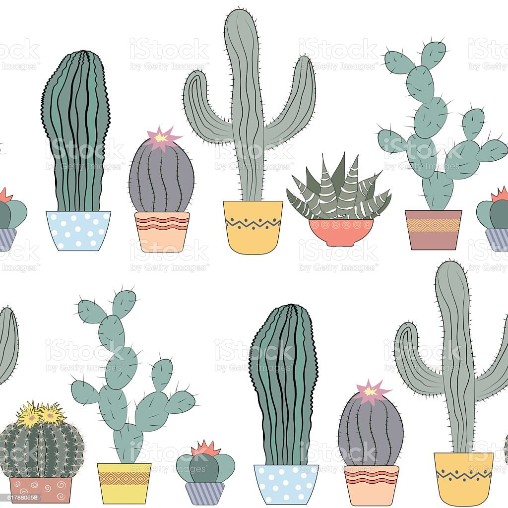 Cacti seamless texture. Succulents, home flowers, houseplants in pots vector art illustration