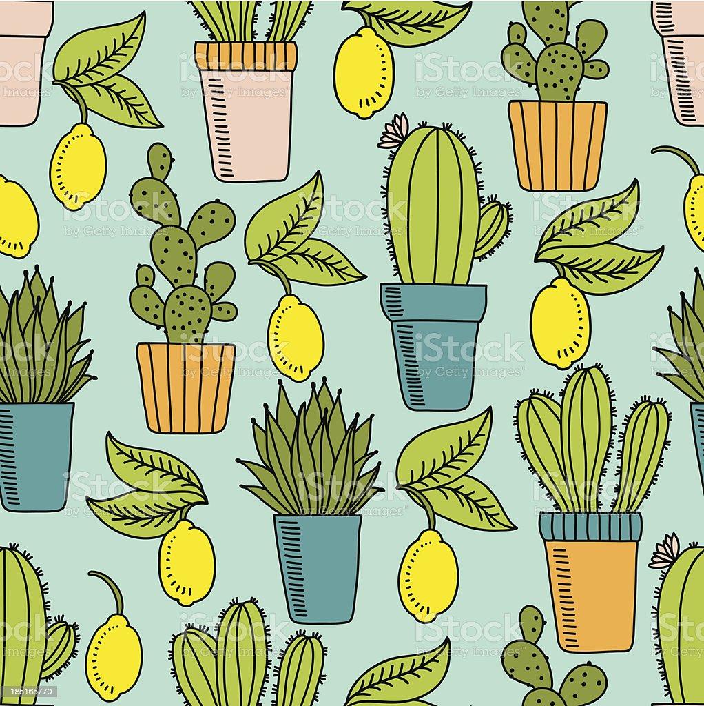 Cactus and lemons royalty-free stock vector art