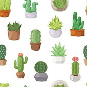 Cactus doodle seamless pattern vector.