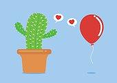 Cactus have foolish love with balloon