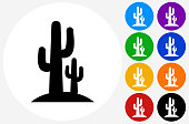 Cactus Icon on Flat Color Circle Buttons