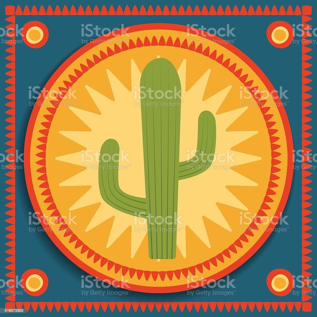 cactus on stylized background vector art illustration