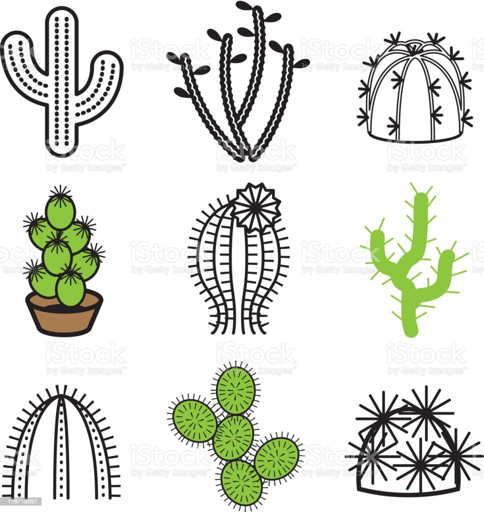 cactus plant icons set royalty-free stock vector art