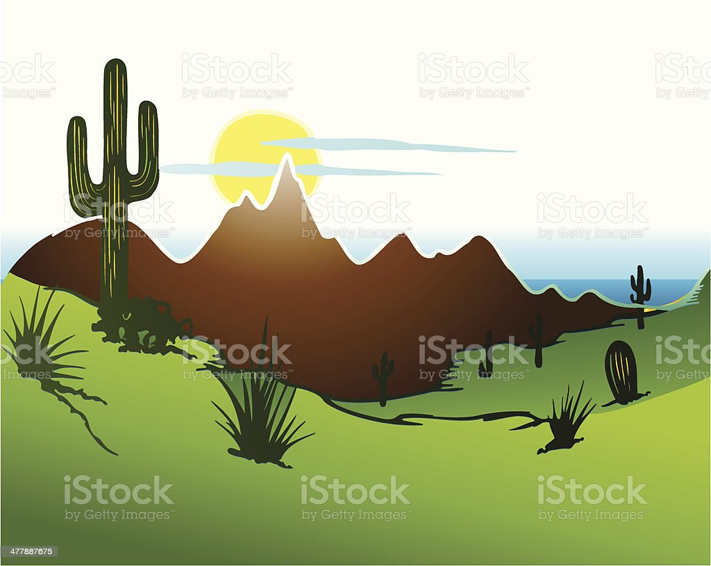 Cactus saguaro, Mountains and river. Vector vector art illustration