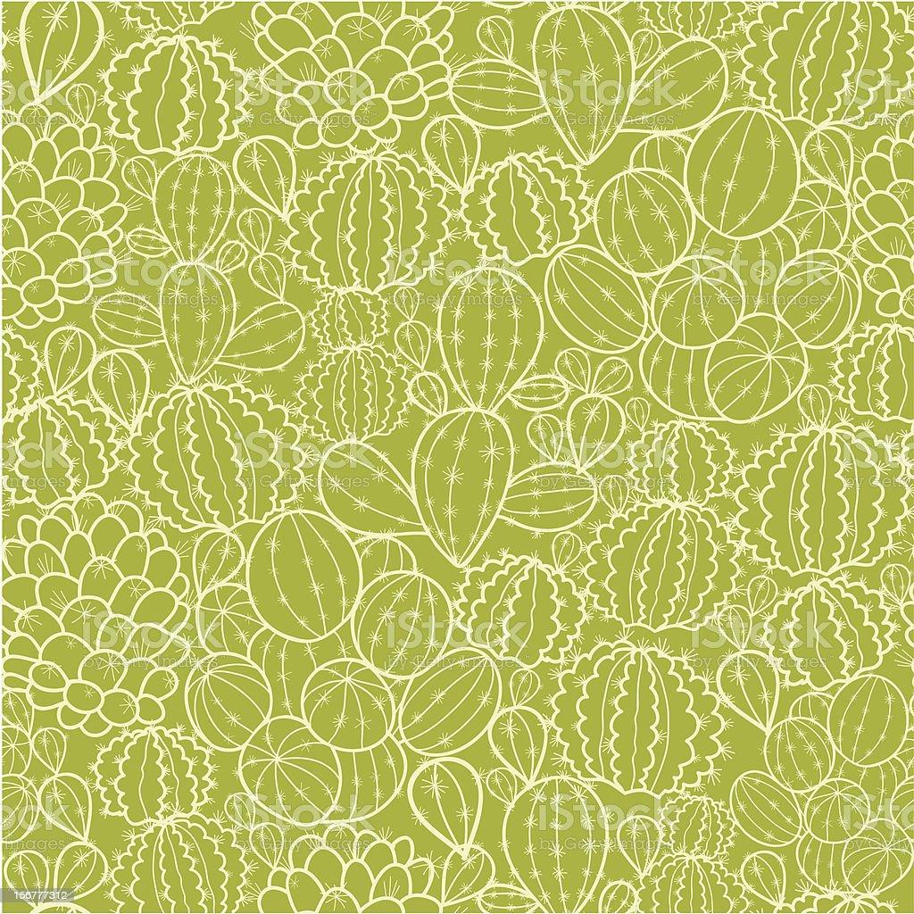 Cactus Texture Seamless Pattern Background vector art illustration