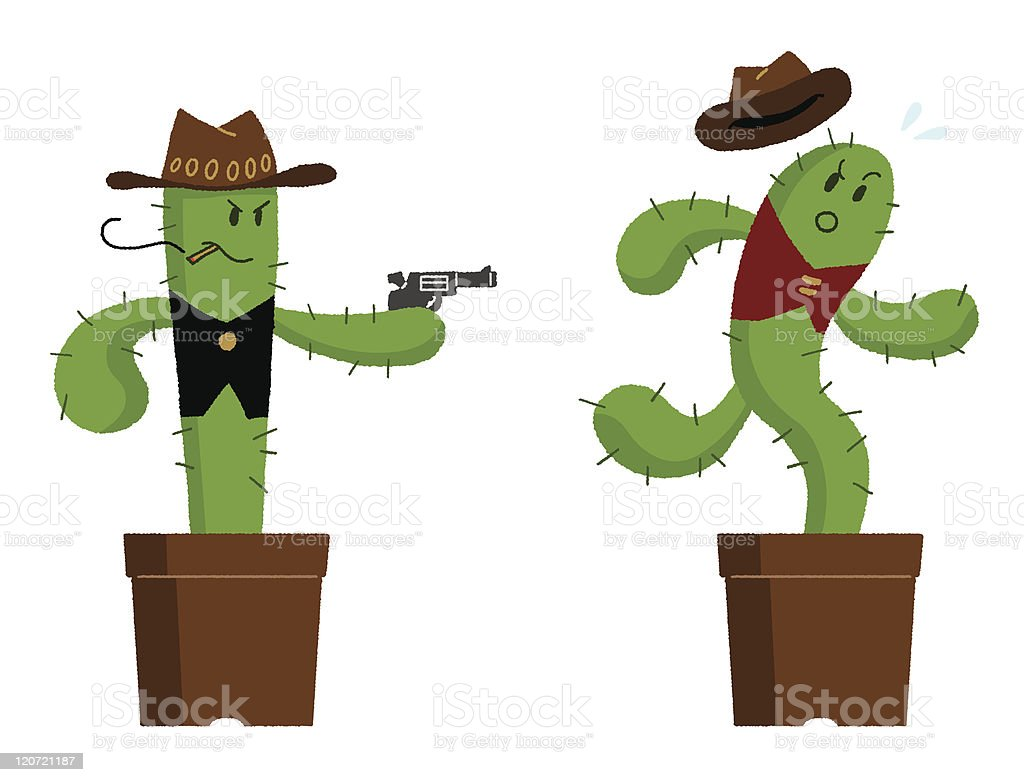 Cactus that runs away royalty-free stock vector art