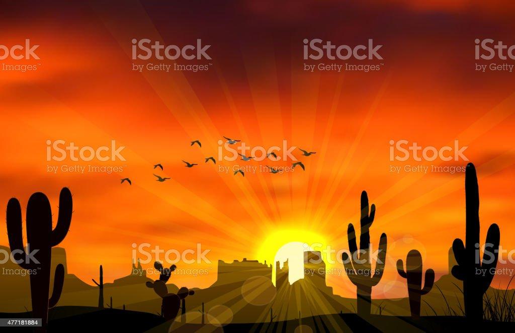 Cactus tree vector art illustration