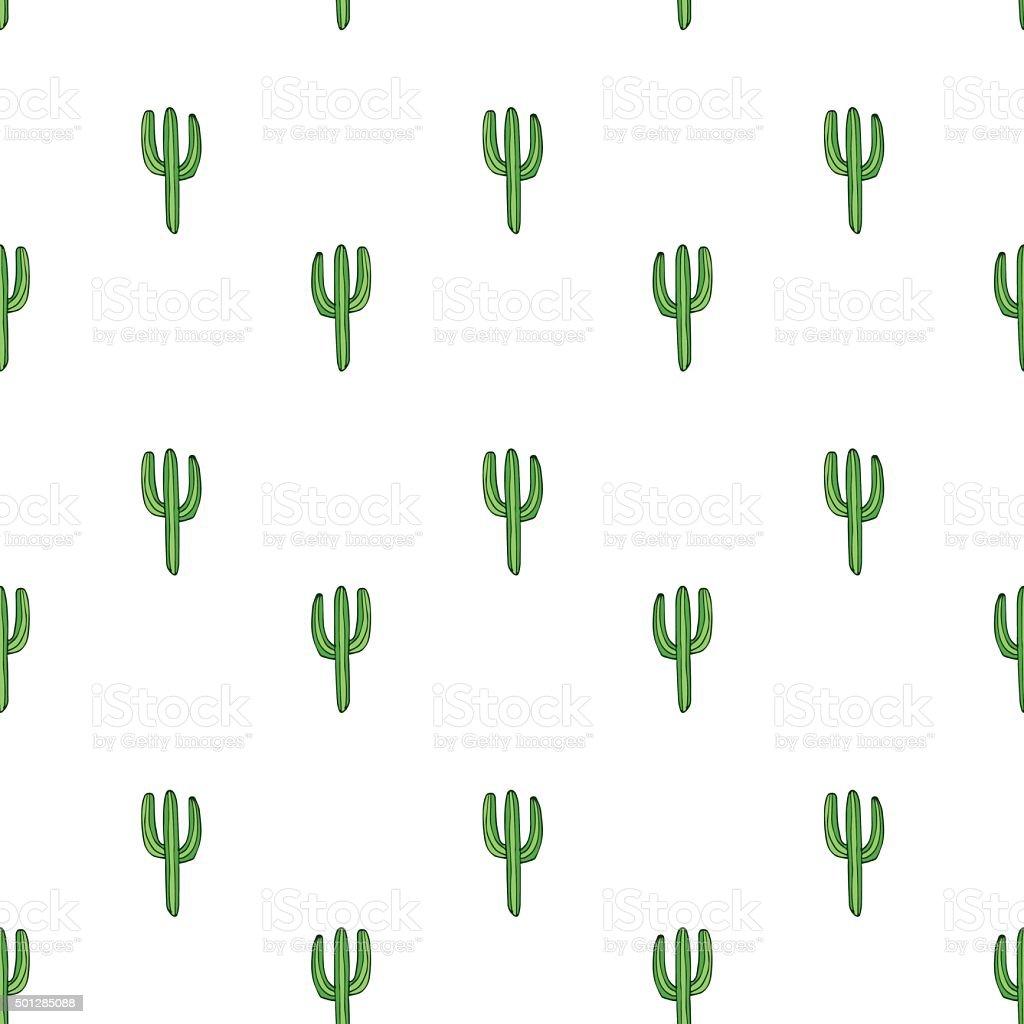 Cactuses - vector hand drawn seamless pattern vector art illustration