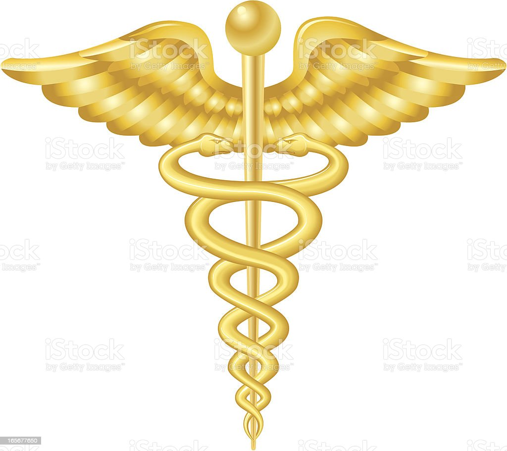 Caduceus Gold vector art illustration