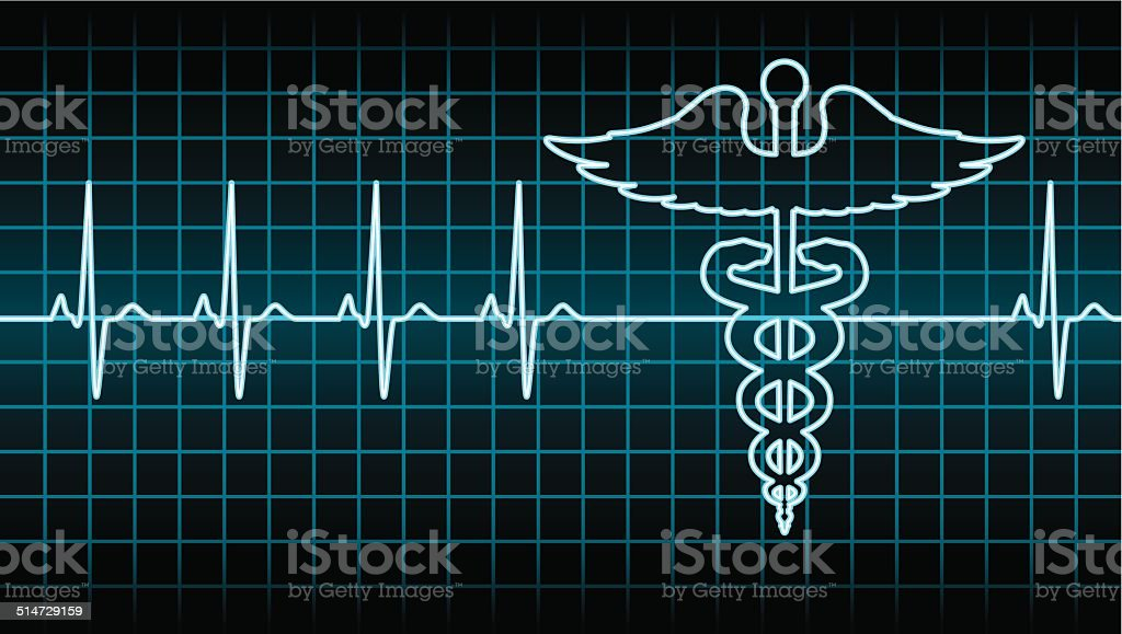 Caduceus Heart Beat vector art illustration