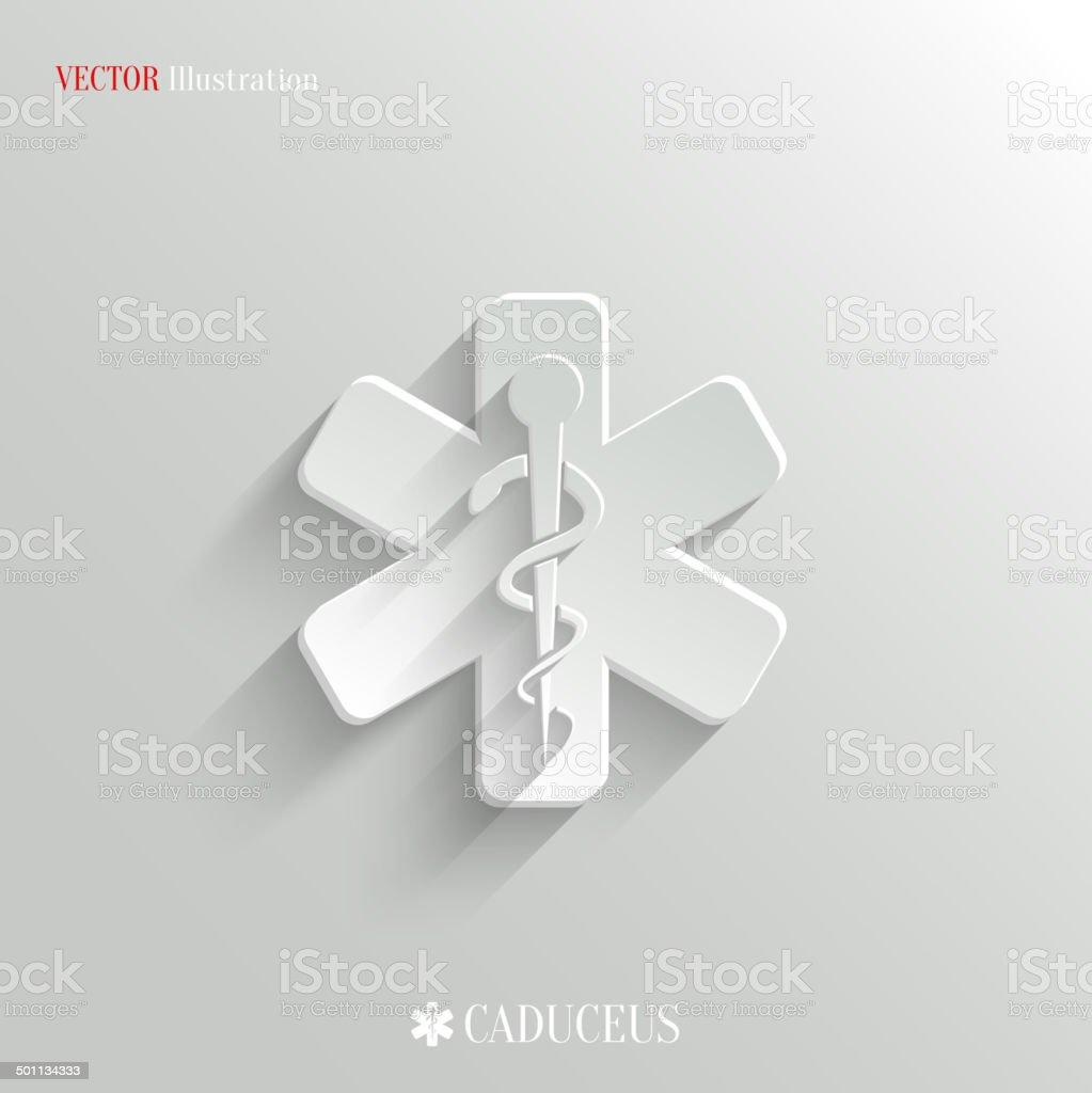 Caduceus Medical Symbol- vector white app icon royalty-free stock vector art