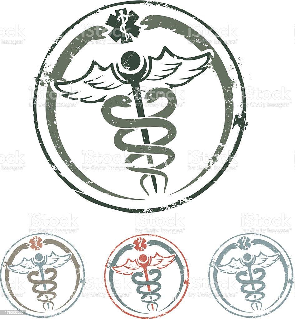 Caduceus rubber stamp vector art illustration