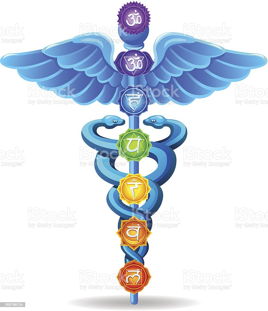 Caduceus with Chakras vector art illustration