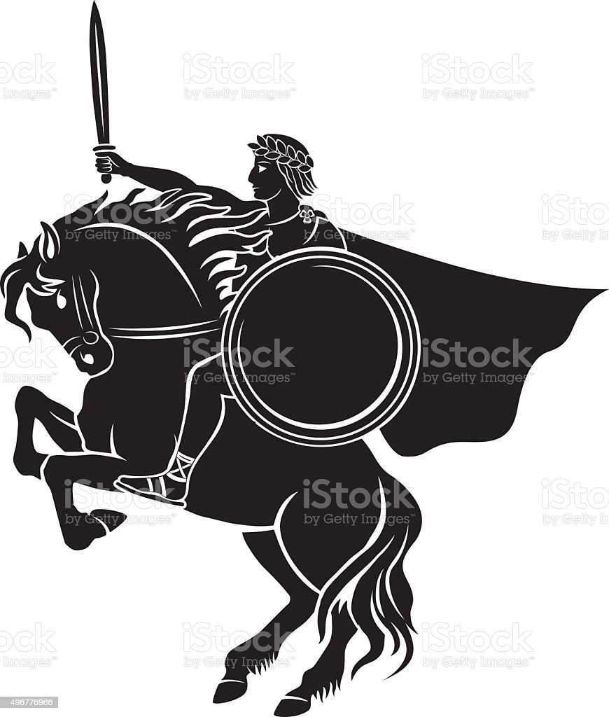 Caesar on horseback vector art illustration