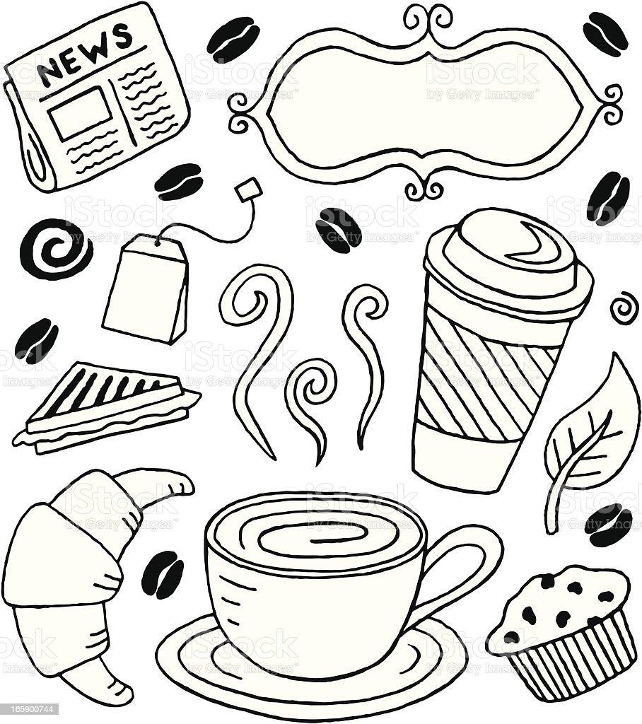 Café Doodles royalty-free stock vector art