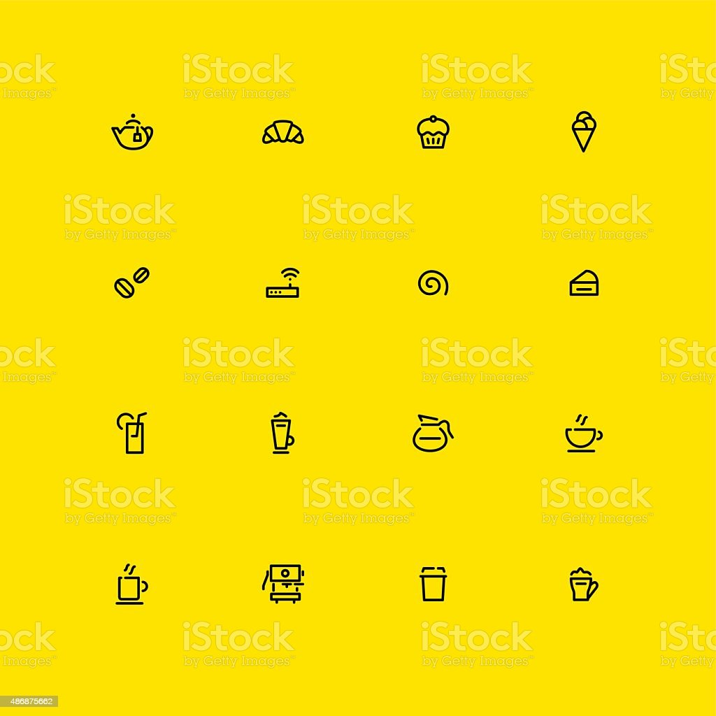 Caf? Icons - Line vector art illustration