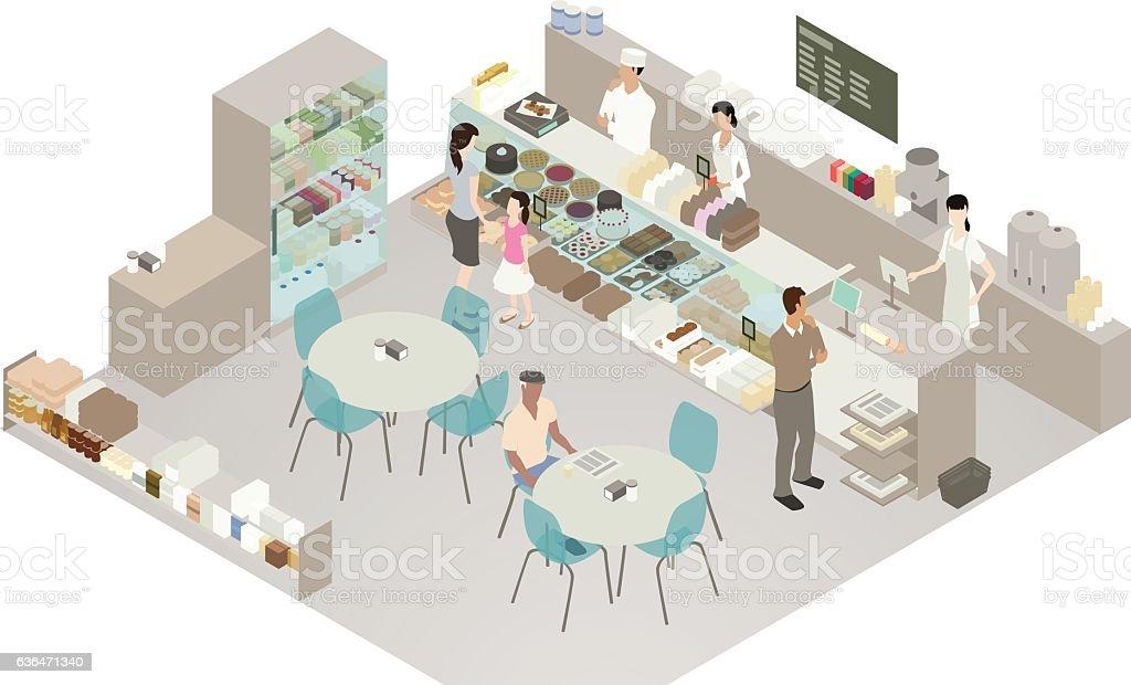 Cafe and bakery detailed illustration vector art illustration