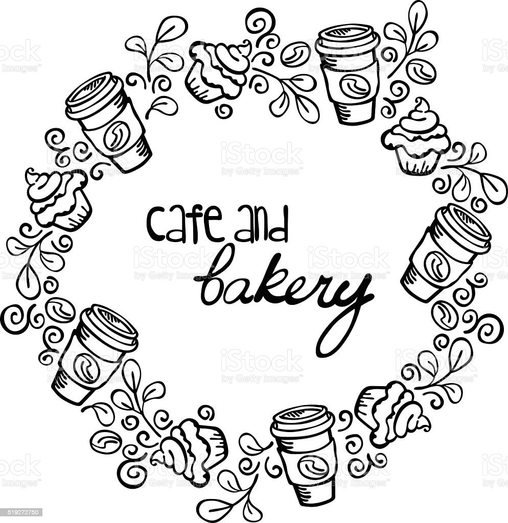 Cafe and bakery. Pastries and coffee (tea). Frame - wreath. vector art illustration