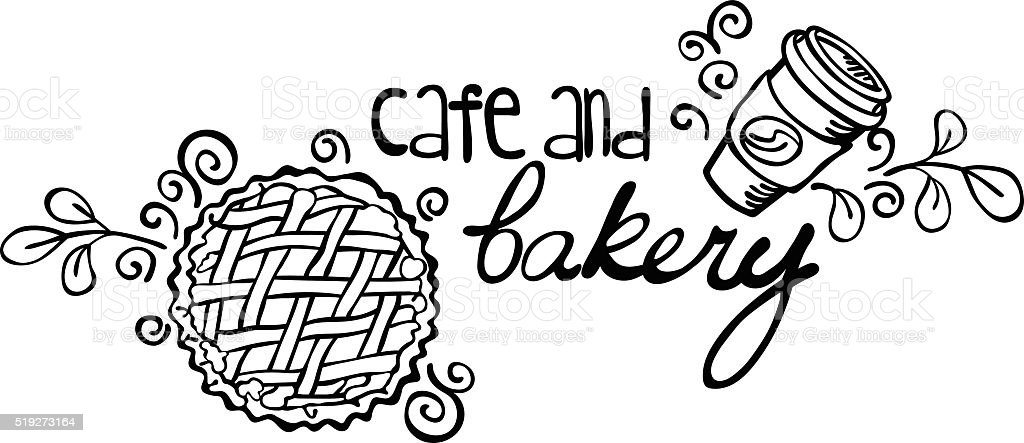 Cafe and bakery. Pastries and coffee (tea). vector art illustration