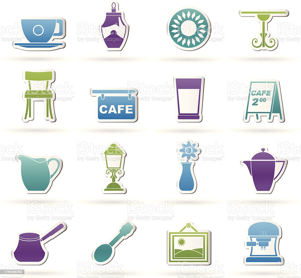 Cafe and coffeehouse icons vector art illustration