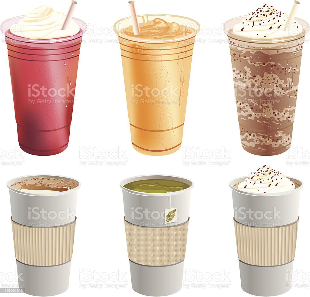 Cafe Beverages Collection vector art illustration