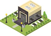 Cafe Building Isometric View. Vector