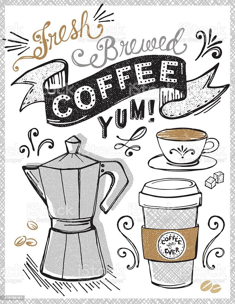 Cafe, Coffee Shop Poster or Sign Concept with Hand Lettering vector art illustration