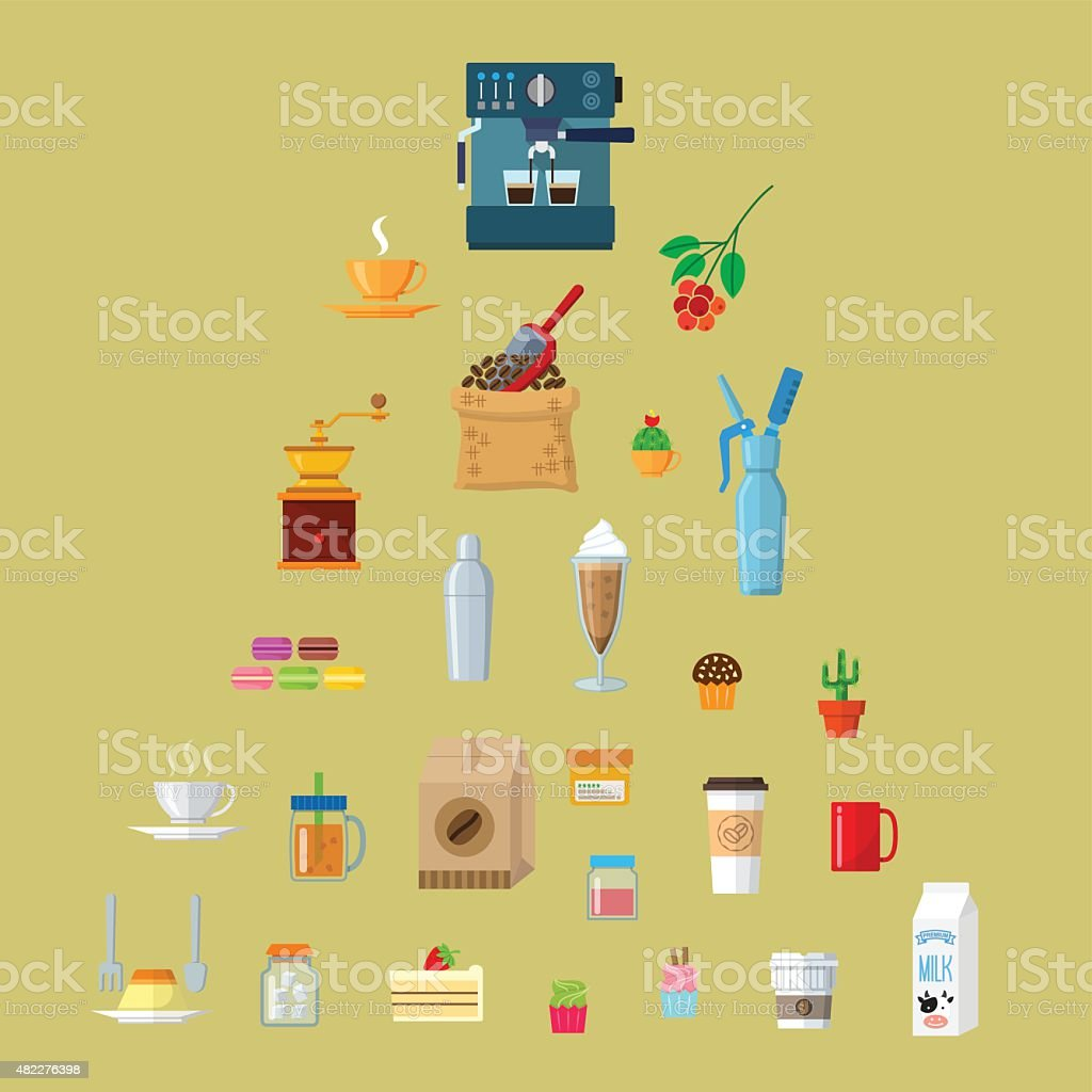 cafe equipment icons collection1. vector art illustration