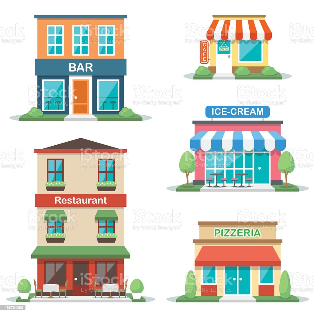 Cafe fronts vector art illustration