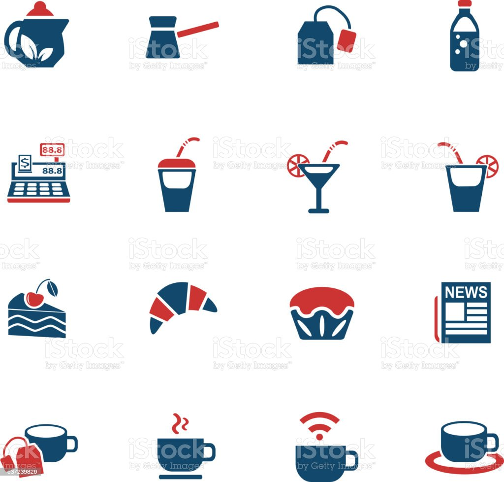 cafe icon set vector art illustration