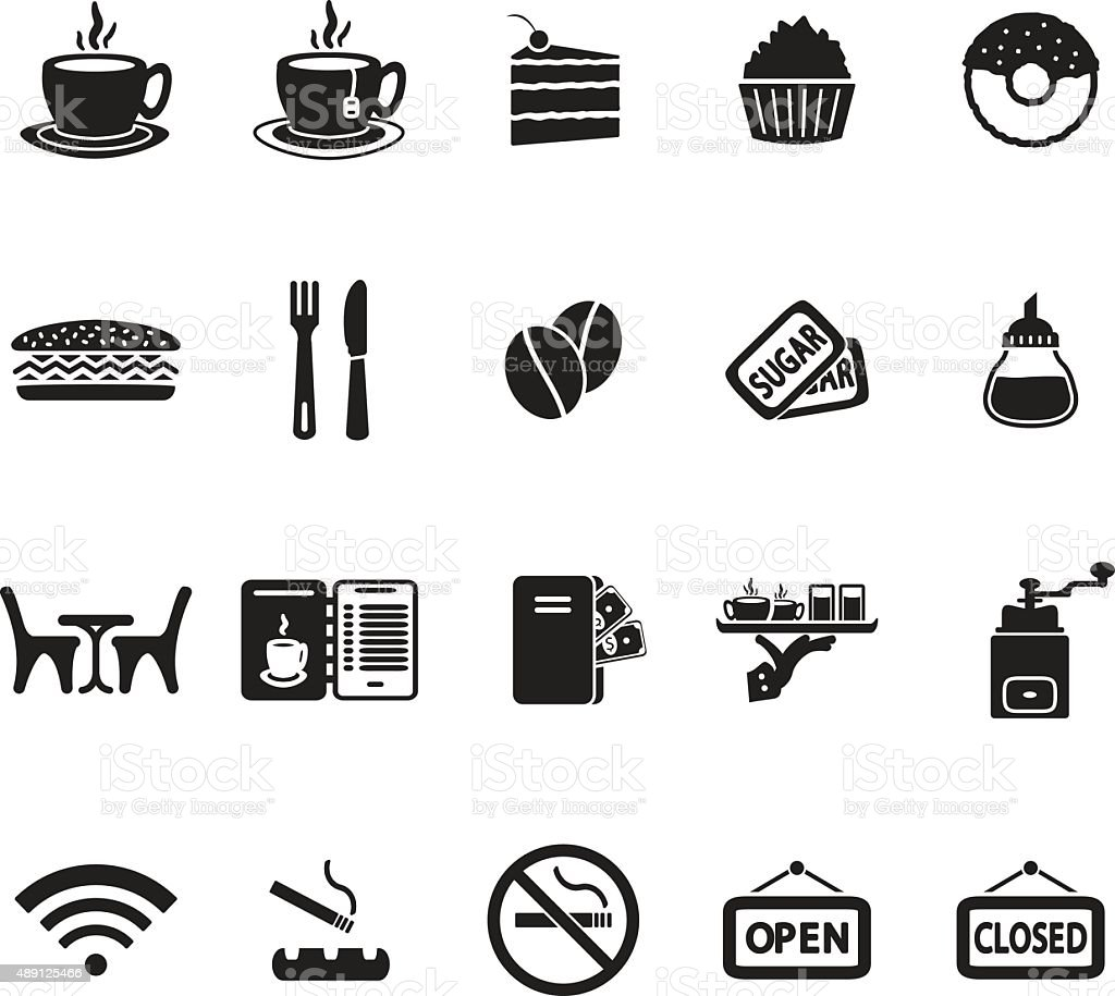 Cafe icons set vector art illustration