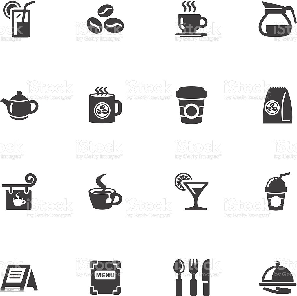 cafe icons vector art illustration