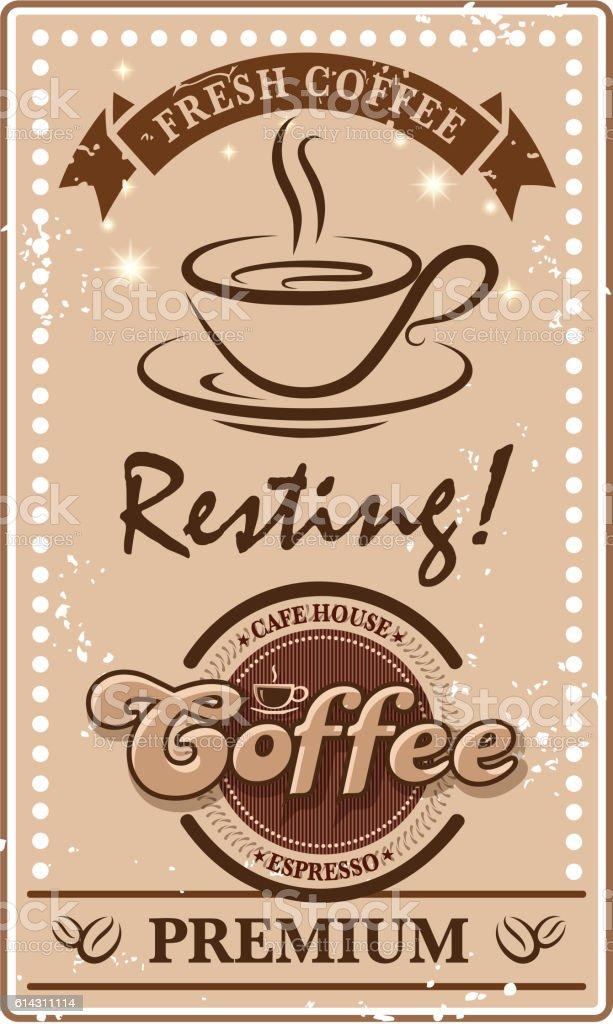 cafe label vector art illustration