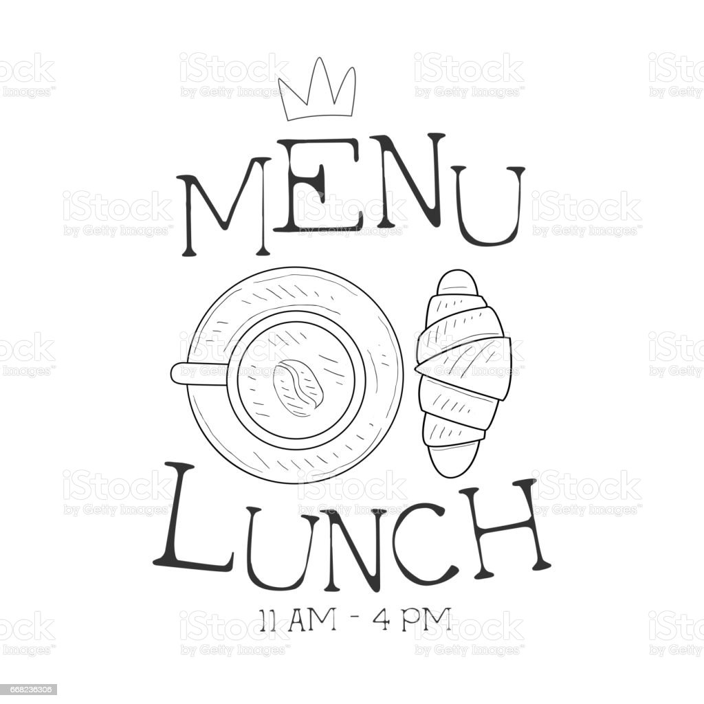cafe lunch menu promo sign in sketch style with croissant and coffee vector id668236306 cafe lunch menu promo sign in sketch style with croissant and on sandwich label template