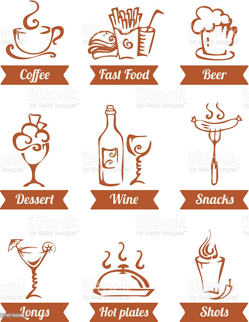 cafe menu food icons hand drawn royalty-free stock vector art