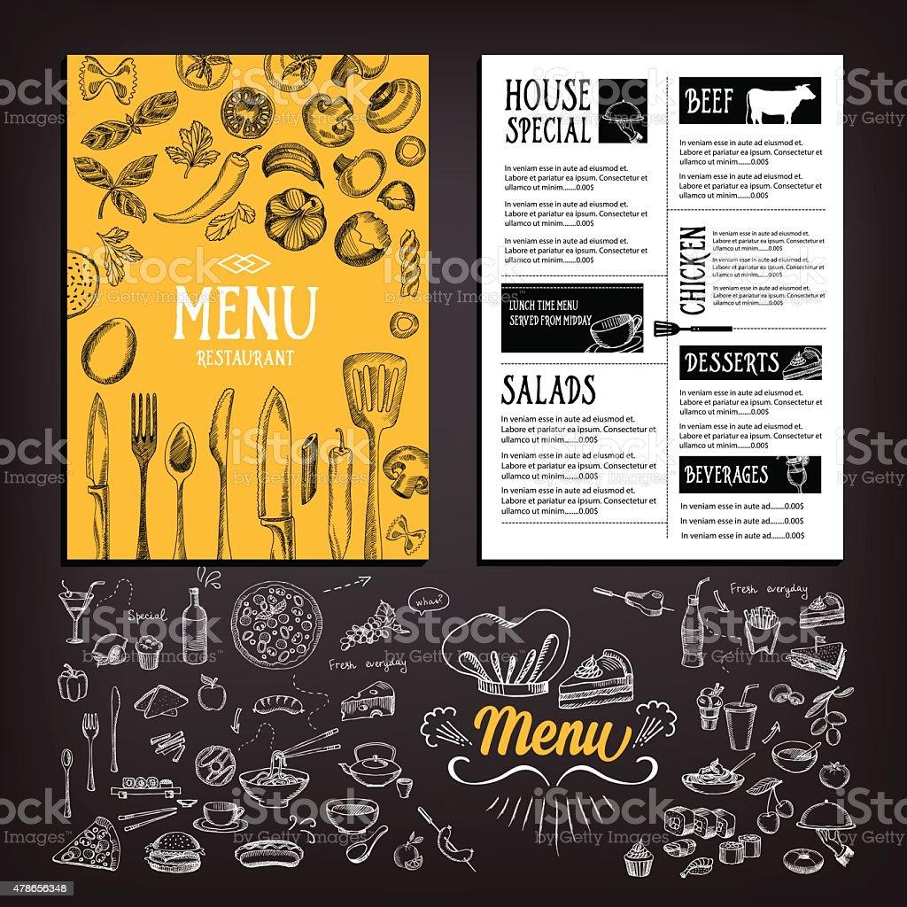 Cafe menu food. vector art illustration