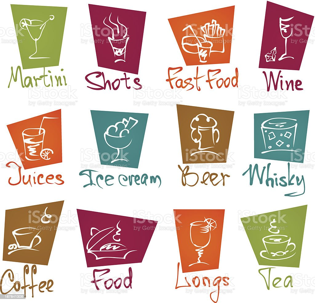 cafe menu hand draw icons in color royalty-free stock vector art