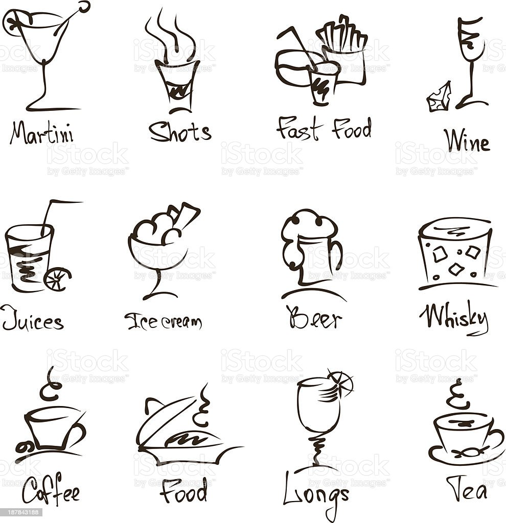 cafe menu hand draw icons on white royalty-free stock vector art