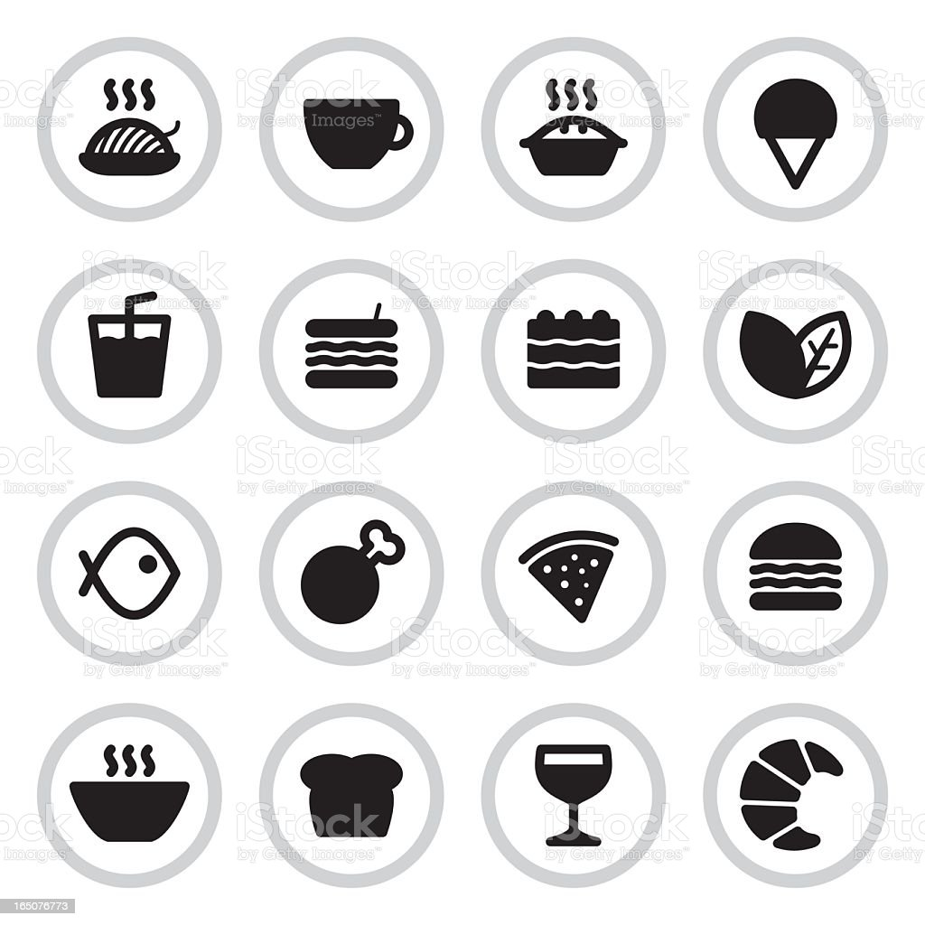 Cafe & Restaurant Menu Icons | Black vector art illustration