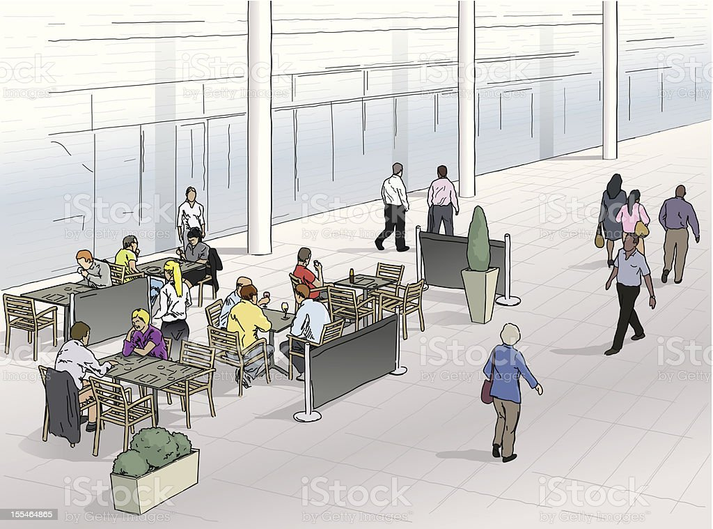 Cafe scene vector art illustration