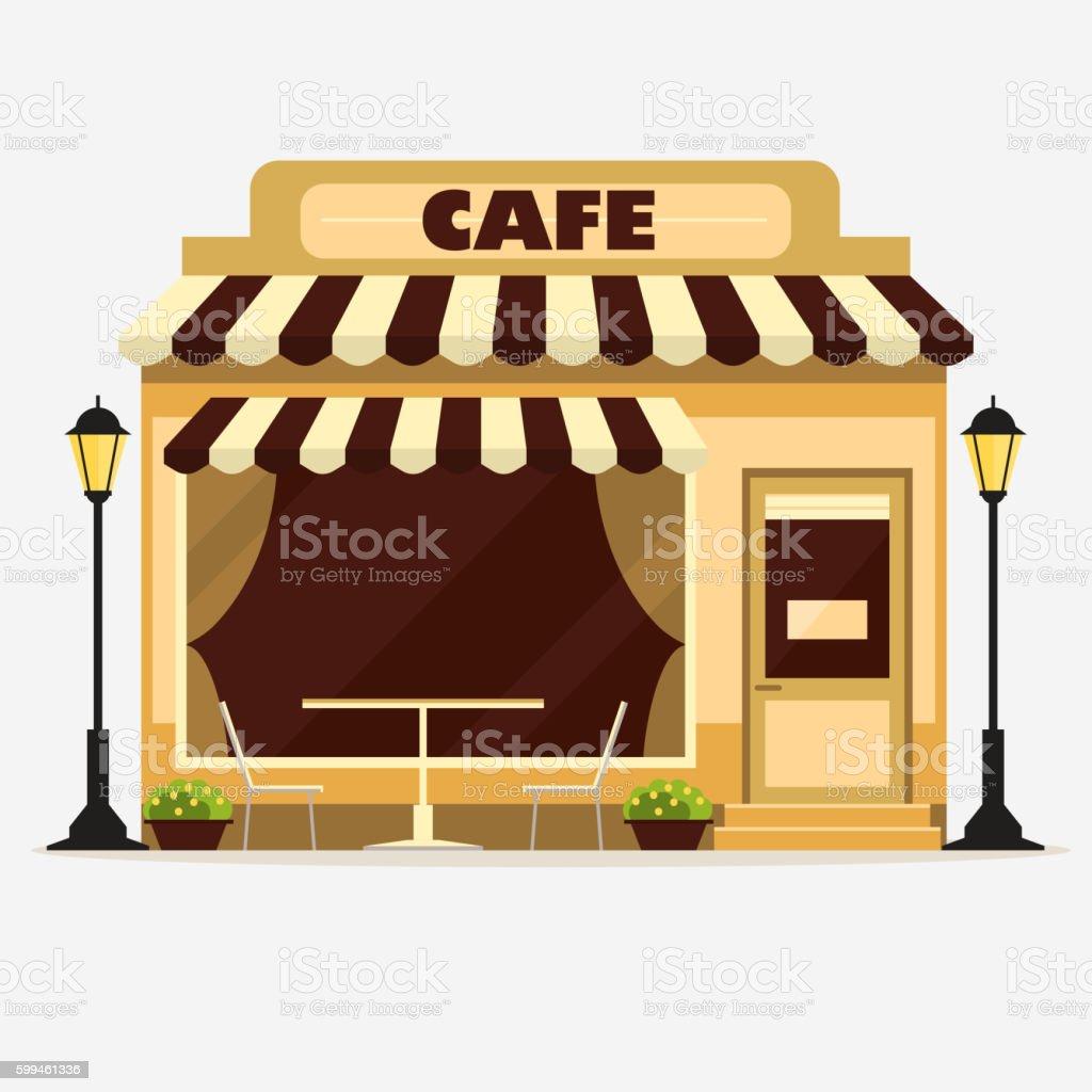 Cafe, Street shop facade vector art illustration