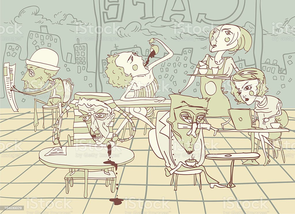 Cafe vector art illustration