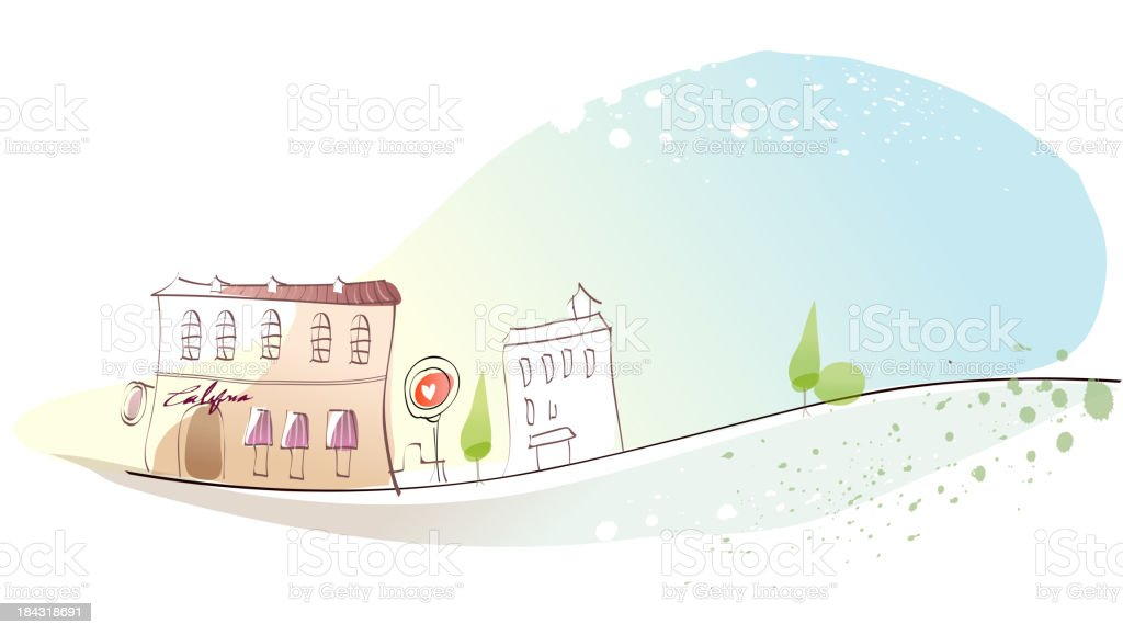 Cafeteria exterior royalty-free stock vector art
