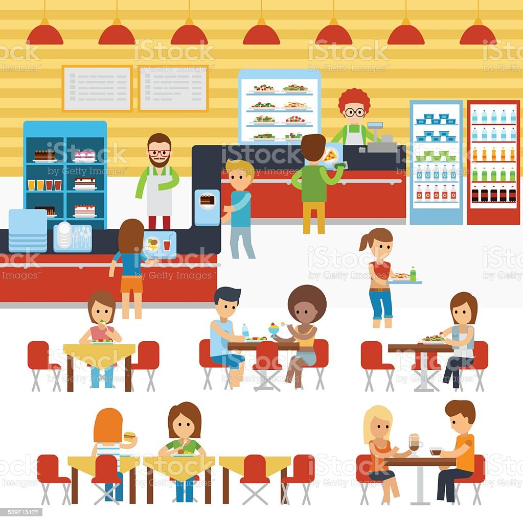 Cafeteria vector, people in canteen, people eating in the cafeteria. vector art illustration