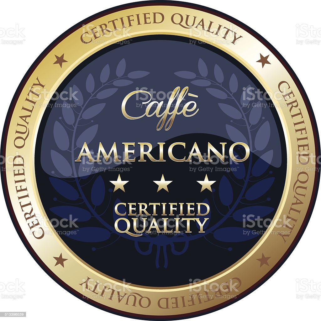 Caffe Americano Gold Emblem vector art illustration