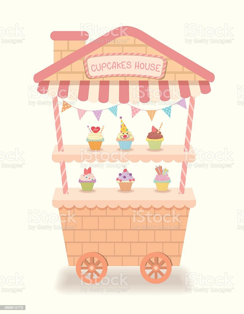 caft cupcakes house cafe vector art illustration