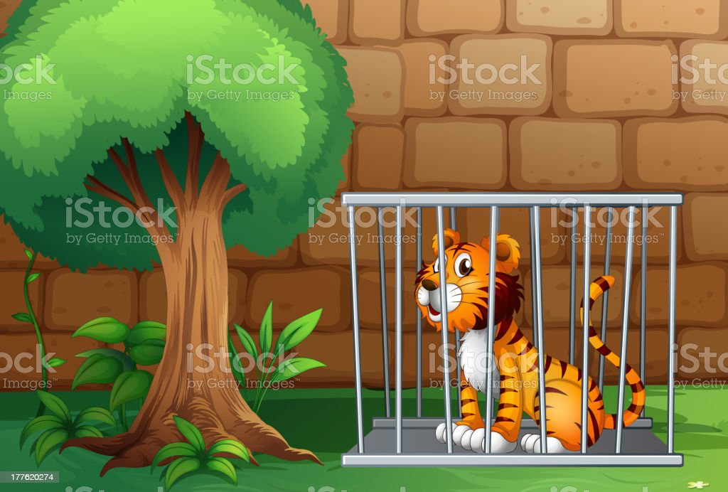 Cage with a tiger royalty-free stock vector art