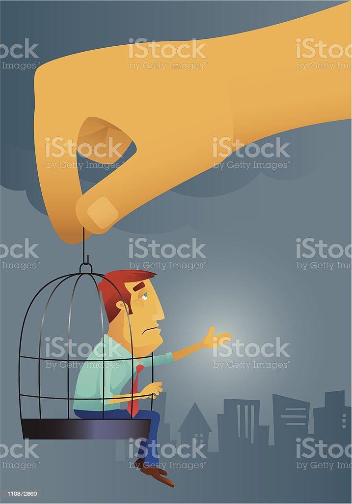 caged businessman vector art illustration
