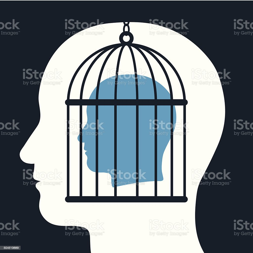 Caged mind inside a head silhouette vector art illustration
